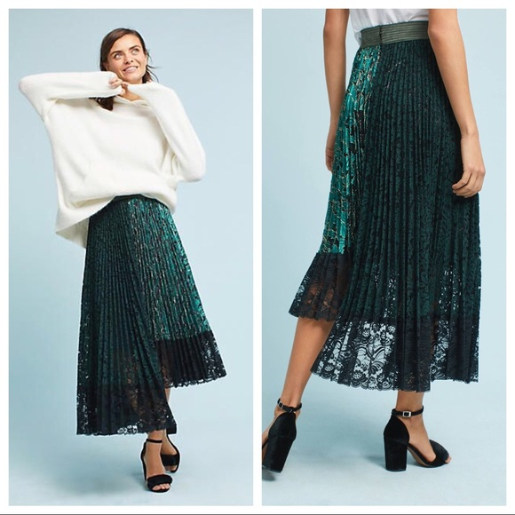 83fe6788a0 Anthropologie Skirts | Anthro Shimmer Asymmetric Lace Pleated Skirt ...